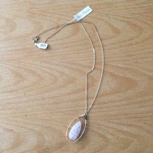 Long gold chain with Rose Quartz pendant